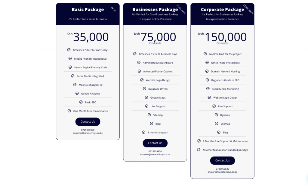How much does it cost to design a website in Kenya